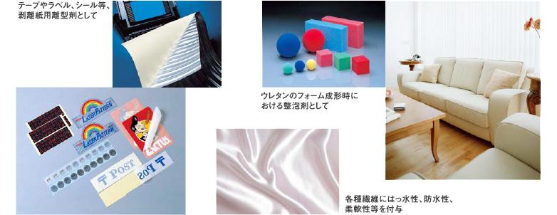 テープやラベル・シール等・剥離紙用雛形剤として、各種繊維にはっ水性・防水性・柔軟性等を付与
